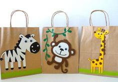 SAFARI goodie bag - make with dollar store bags Party Animals, Farm Animal Party, Farm Animal Birthday, Jungle Animals, Safari Party, Jungle Party, Jungle Safari, Party Favor Bags, Goodie Bags