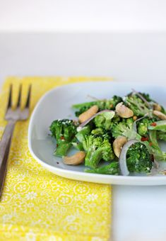 Tahini Broccoli salad with Cashews.  (P.S. Why is it I never want to type the word Broccoli correctly!?)