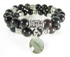 Black Moonstone Bracelet Set, Statement Bracelet, Boho Bracelet, Charm Bracelet, Gemstone Bracelet by TerriFayeJewelry on Etsy