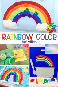 Preschool Color Activities, Rainbow Activities, Rainbow Bulletin Boards, Colored Tape, Color Unit, Circle Time, Finger Painting, Foam Crafts, Play To Learn