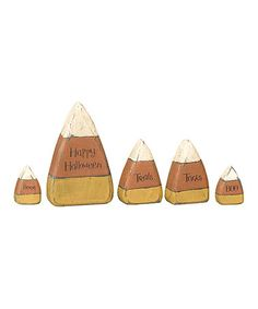 Take a look at this Wooden Candy Corn Sentiments Set by Primitives by Kathy on #zulily today!