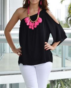 Black One Shoulder Top. Pinning this because I love the necklace as well!