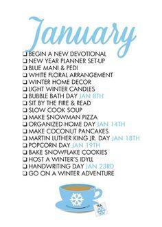 National Holidays: January Seasonal Living List