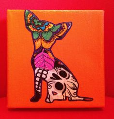 Chihuahua silhouette, day of the dead print OMG Christy Morris. Chihuahua Tattoo, Chihuahua Art, Chihuahua Drawing, Dachshund, Apple Tattoo, Puppy Crafts, Sugar Skull Girl, My Canvas, Skull Art