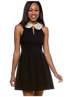 eight sixty ponte dress with pearl collar.