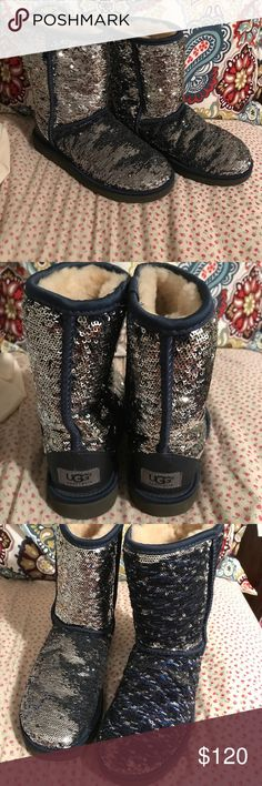 Blue/Silver Sequin Ugg Boots Beautiful boots!   Wear two ways: silver sequin or blue sequin.  I wore these a few times but never in bad,snowy,inclement weather.  Soft and Warm! UGG Shoes Winter & Rain Boots