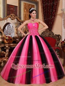 Unique Beading Black and Red Quinceanera Dresses with Sweetheart