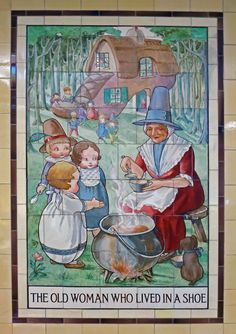 the tile panels depicting nursery rhymes were originally located in