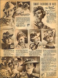 Hats from Sears Catalog, 1937