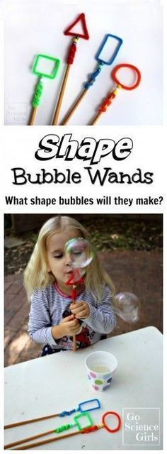 Make shape bubble wands and let the kids experiment. Does one work better? Do the bubbles look different? Appealing to NCTM math standards, this is a great outdoor or summer science activity for young kids. Teach kids about and shapes in a fun way! Kid Science, Summer Science, Science Activities For Kids, Preschool Science, Math For Kids, Toddler Activities, Learning Activities, Preschool Activities, Fun Math