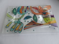hand painted fused glass plate fused plate by Homeforglasslovers, $20.00