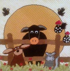 """Say Cheese"" Whimsical Farm Animals Needlepoint - Annie Lane Designs  wellesleyneedlepoint.com"