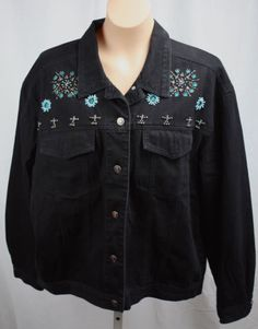Carole-Little-Womens-Black-Beaded-Southwest-Style-Cotton-Jean-Jacket-Size-16