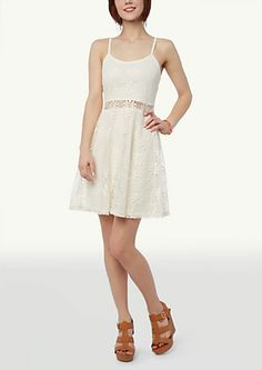 image of Crochet Waist Skater Dress