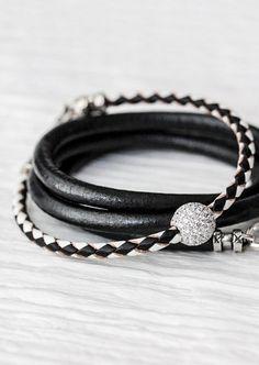 Black White Sterling Pave Bangle Bracelet / Checker Eco