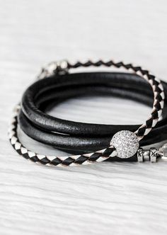 Black White Sterling Pave Bangle Bracelet / Checker Eco