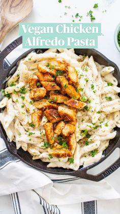 Autumn Pasta Recipes, Vegan Dinner Recipes, Vegan Dinners, Vegetarian Recipes, Healthy Dinners, Delicious Recipes, Pollo Alfredo, Chicken Alfredo, Chicken Pasta