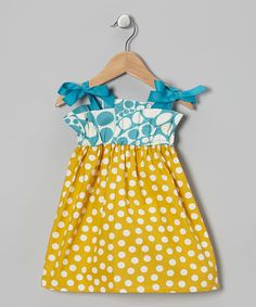Take a look at this Yellow & Aqua Polka Dot Sundress - Toddler & Girls by Heather Feather on #zulily today!