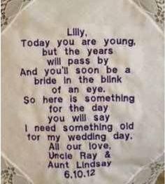 Wedding ideas : napkin letter for flower girl : very cute : something old :