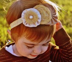 Lola gold baby headband  gold brown beige rosettes by LucyLullaby, $10.00