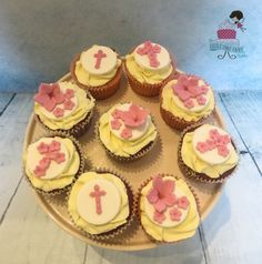 Floral Cross Communion Cupcakes www.littlecakefairydublin.com www.facebook.com/littlecakefairydublin Holy Communion Cakes, Baby Shower Cakes, Confirmation, Christening, Holi, Cupcakes, Facebook, Floral, Desserts
