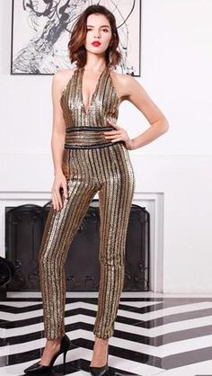 6e75d61fa3c3 Sexy Deep-v Sleeveless Strapless Halter Backless Sequin Jumpsuit - COZY  STYL Gold Sequin Dress