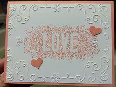 Valentine's Day card.  Stampin Up filigree frame embossing folder and seasonally scattered stamp set.