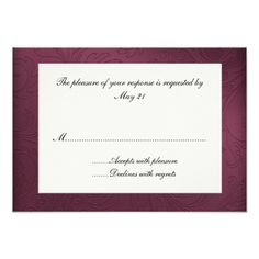 Maroon Damask Wedding Response Card