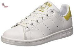 adidas Stan Smith, Baskets Basses Mixte Enfant, Blanc (Footwear White/Footwear White/Gold Metallic), 38 2/3 EU - Chaussures adidas (*Partner-Link)