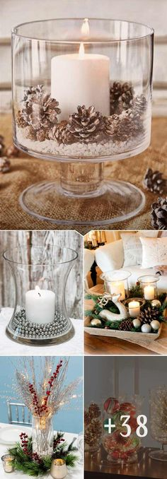 48 Simple Holiday Centerpiece Ideas - Page 2 of 31 - Easy Hairstyles Hurricane Centerpiece, Coffee Table Centerpieces, Christmas Table Centerpieces, Christmas Table Settings, Xmas Decorations, Centerpiece Ideas, Graduation Centerpiece, Simple Centerpieces, Classy Christmas