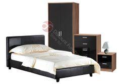 High Gloss Wardrobe Chest Bedside + 3ft Single Black Bed + Mattress