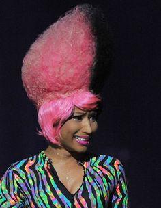 Nicki Minaj rocks a funky hairstyle