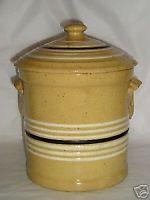 yellow ware covered crock ~great for storing dog kibble Antique Crocks, Old Crocks, Antique Stoneware, Stoneware Crocks, Primitive Antiques, Earthenware, Old Pottery, Glazes For Pottery, Vintage Pottery
