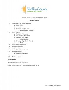 Shelby County Council on Aging – Below is the agenda for the January meeting of the Shelby County Council on Aging.