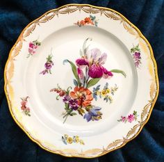 The Iris Meissen dessert plate in floral and gold.