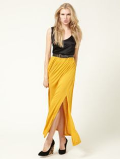 #Threadflip               #Skirt                    #Gold #Maxi #Skirt #with #Side #Slit #Black #Silk #Tank #small #Taylor        LNA Gold Maxi Skirt with Side Slit and LNA Black Silk Tank LnA small by Taylor Kay                                                http://www.seapai.com/product.aspx?PID=1078408