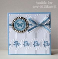 Collage Curios mini card in blue - Stampin' Up!