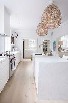 Cheap Home Decor rattan lights.Cheap Home Decor rattan lights All White Kitchen, White Kitchen Cabinets, Kitchen Cabinet Design, Modern Kitchen Design, Cabinet Decor, Kitchen Designs, Kitchen Cupboard, Modern White Kitchens, White Coastal Kitchen