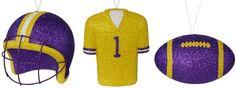 3 ASSORTED LSU ALT. FOOTBALL ORNAMENTS - #lsu #football #helmet #jersey #craigbachman