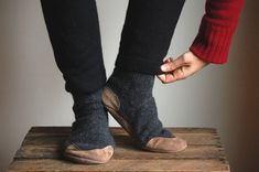 House Slippers Eco Friendly Wool & Leather on etsy