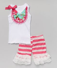 Look what I found on #zulily! Teal & Pink Rose Tank & Ruffle Shorts - Infant, Toddler & Girls by Ruby and Rosie #zulilyfinds