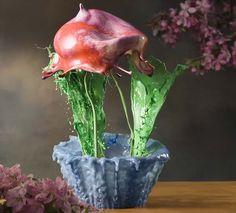 Flores hechas de gotas de pinturas suspendidas en el aire por Jack Long