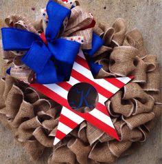 Burlap Wreath with Patriotic Monogram Star