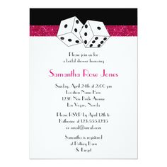 Custom Las Vegas Wedding Bridal Shower Red Dice Theme Personalized Invitations created by prettypicture. This invitation design is available on many paper types and is completely custom printed. Vegas Wedding Invitations, Wedding Invitation Design, Bridal Shower Invitations, Party Invitations, Casino Royale, Personalized Invitations, Custom Invitations, Invites, Costume Paris