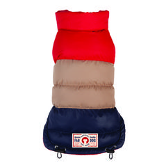 Red/Tan/Navy Colorblock Vintage Style Dog Puffer Coat #dogfashion #dogclothes #dogcoat