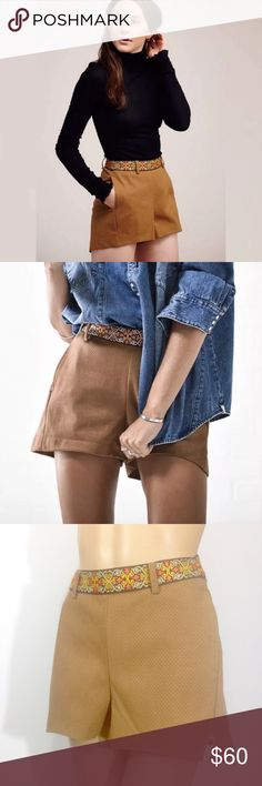 """ONE X ONE TEASPOON FLEETWOOD VEGAN TAN SHORTS ONE X ONETEASPOON FLEETWOOD VEGAN LEATHER SHORTS  Size: X-Small Condition: New without tags, might show signs of being handled or tried-on in store. Details: Tan Back zip/one button back closure Embroidered belt design Side Pockets Embroidered belt design Measurements: Waist side seam to side seam: 12.5 """"  Rise: 10 1/4"""" Inseam: 2.5"""" One Teaspoon Shorts"""