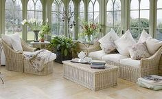 Classic living room: Conservatory Traditional English willow furniture creates a timeless look in a living room conservatory and complements classical features such as arched windows and open brickwork while also maintaining an informal garden feel. Conservatory Flooring, Conservatory Interiors, Conservatory Decor, Modern Conservatory Furniture, Willow Furniture, Outdoor Furniture Sets, Country Furniture, Wooden Furniture, Classic Living Room
