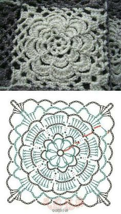 Delicate flowered crochet square pattern