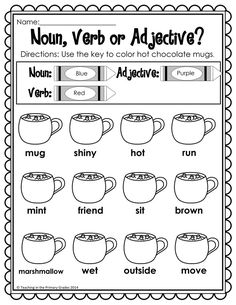 Winter First Grade Activities - Your first graders will love to review math and literacy concepts with these fun winter themed printables. These worksheets are Common Core Aligned. Your students will review noun, verbs and adjectives along with other math and literacy concepts. I print them off and staple the into a packet to use for fast finishers.