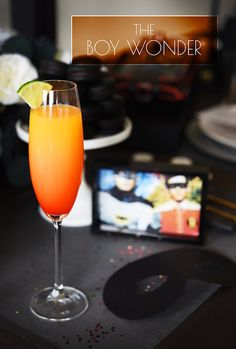 The Boy Wonder 3 oz. orange juice 2 oz. sparkling wine 1 oz. silver tequila Splash grenadine or maraschino cherry juice